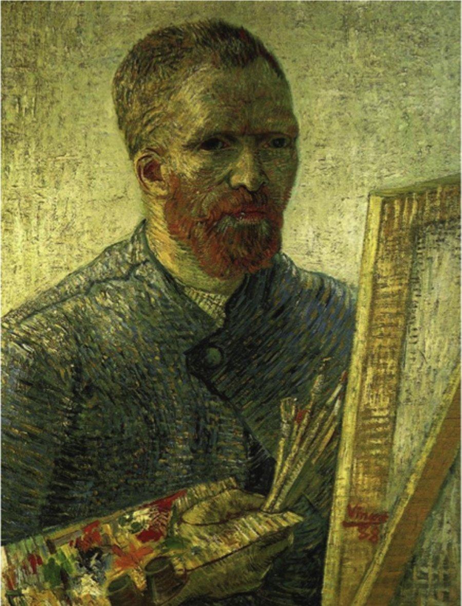 Ein Selbstbildnis van Goghs (1888) vor der Staffelei präsentieren die Forscher im Journal of Optics als Beispiel für ein Flachspiegel-Selbstportrait.
