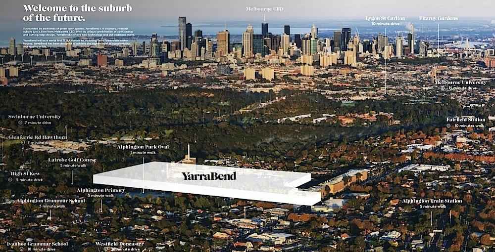 8,5 Kilometer von der City Melbournes entfernt soll der Vorort YarraBend entstehen.