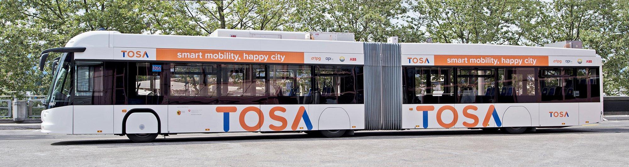 TOSA-Bus: Bis 2018 sollen die Dieselbusse, die auf der Linie 23 in Genf zwischen Flughafen und Vororten verkehren, komplett durch zwölf Elektrobusse mit dem Schnell-Ladesystem TOSA (Trolleybus Optimisation Système Alimentation) ersetzt werden.