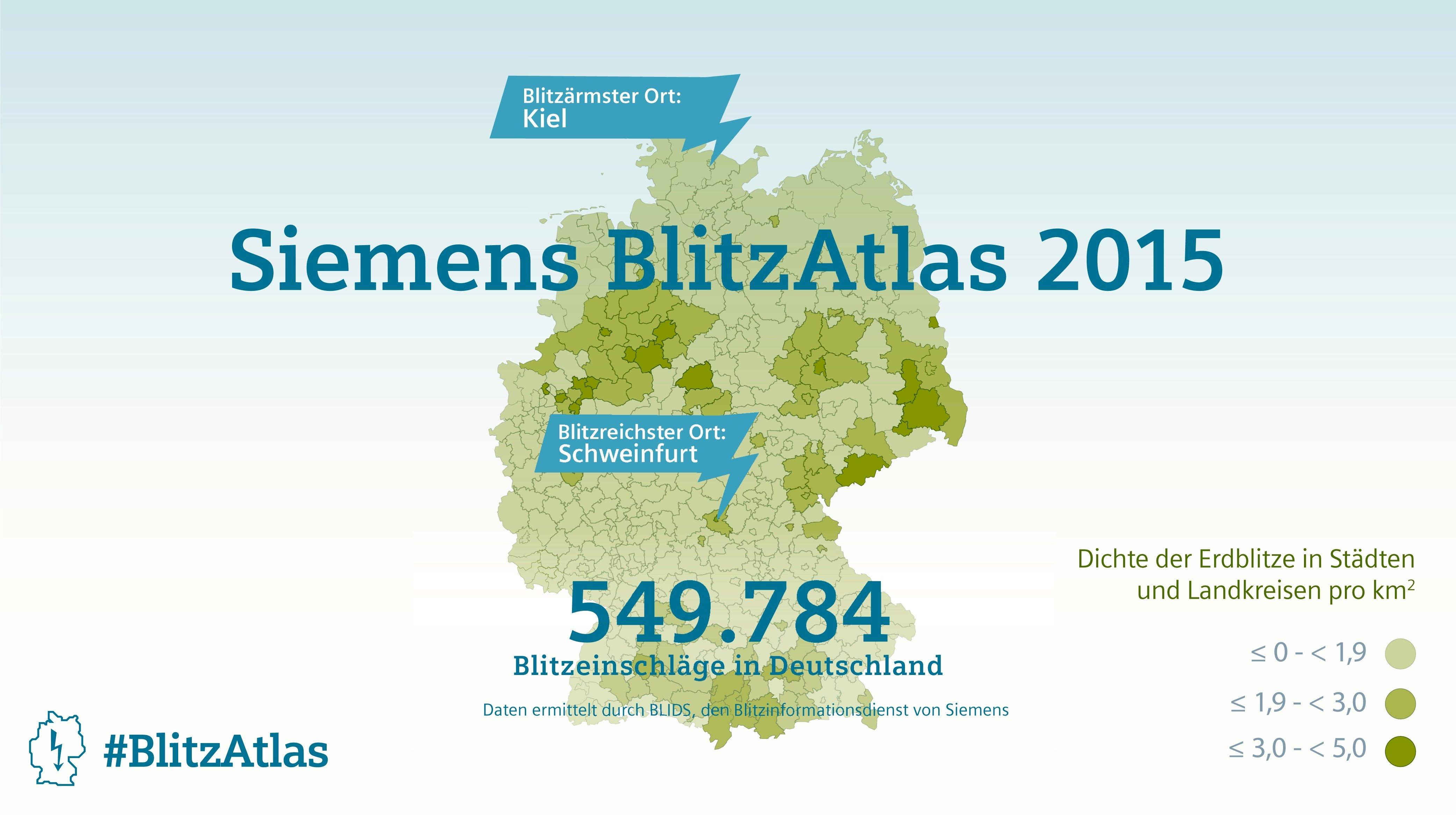 Der Blitzatlas 2015: Die meisten Blitze schlugen im vergangenen Jahr im Süden Bayerns, Teilen Niedersachsens und Nordrhein-Westfalens sowie in Teilen Sachsens und Sachsen-Anhalts ein.