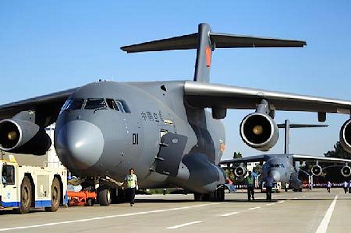 Das militärische Transportflugzeug Y-20.