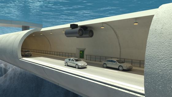 Norwegen arbeitet an den Plänen für einen schwimmenden Verkehrstunnel.Die beiden in einer Wassertiefe von 30 m schwebenden Röhren aus Beton wären eine Weltpremiere, die an die Ingenieure nie gekannte Anforderungen stellt.