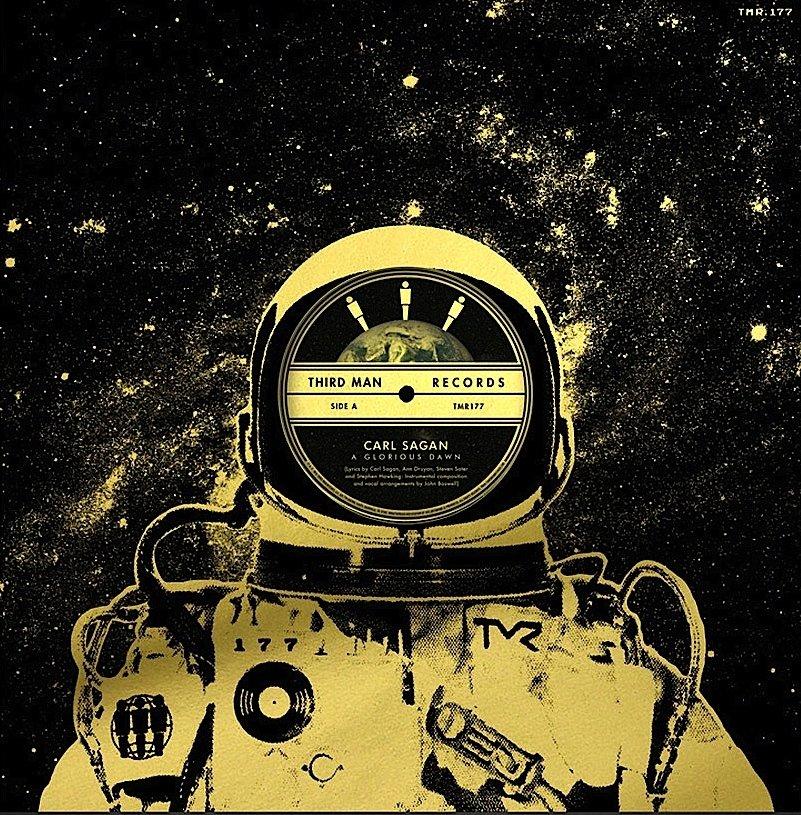 """Platten-Cover dergoldenen 12-Zoll-Fassung von """"A Glorious Dawn"""", die am Samstag im All gespielt wird."""
