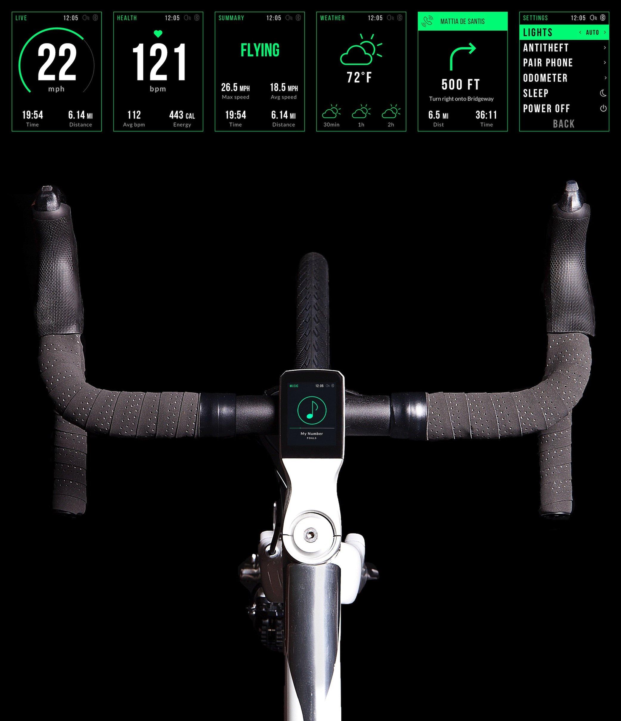 Der Bordcomputer des Volata Bikes versorgt den Fahrer mit einem ganzen Strauß an nützlichen Informationen. E-Mail, die auf dem Smartphone eintreffen, werden auf dem relativ großen Display angezeigt.