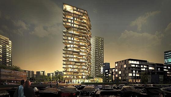 73 Meter hoch soll der für Amsterdam geplante Wohnturm aus Holz werden.