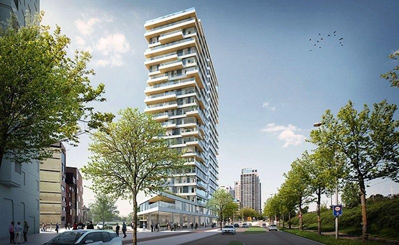 Im Hochhaus Haut sollen auf rund 14.500 m2 Wohnfläche 55 Wohnungen entstehen.