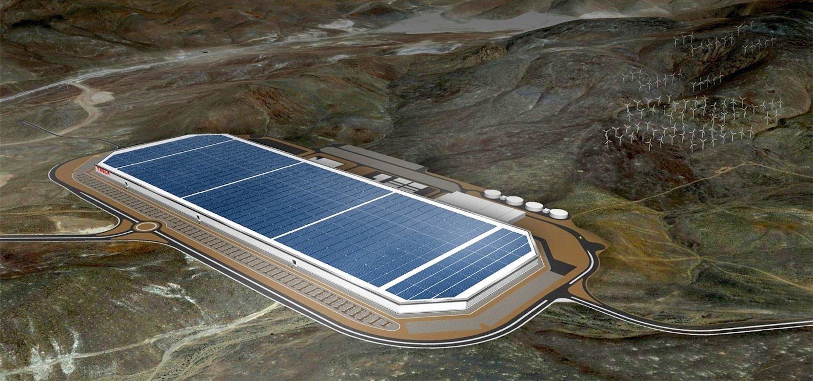 So wird die Gigafactory von Tesla nach Abschluss der Bauarbeiten im Jahr 2020 aussehen.