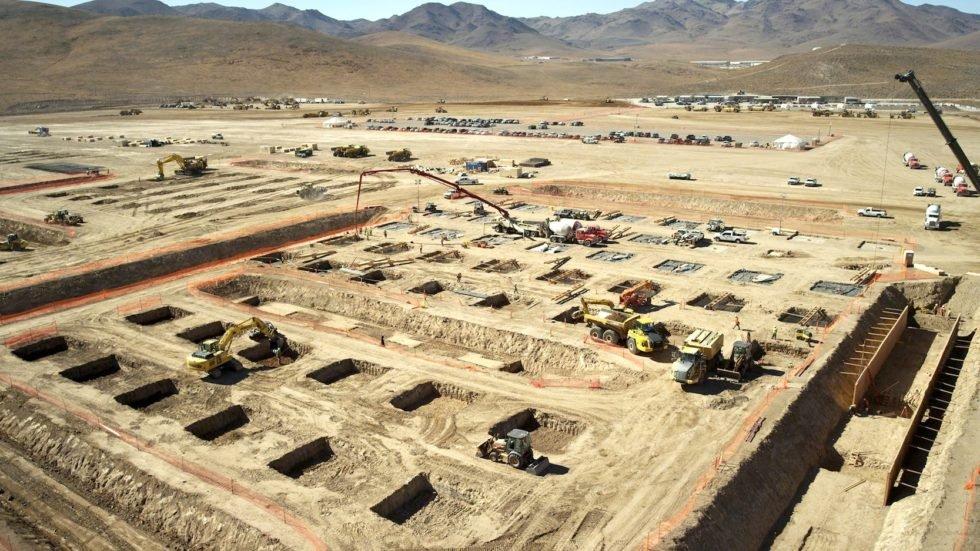 So sah die Baustelle von Tesla für seine Batteriefabrik in der Wüste Nevadas aus. Foto: Tesla