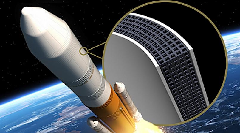 Das vibrationsdämpfende Gitter in einer Zukunftsvision: Es könnte dereinst auch in Raketen eingesetzt werden.