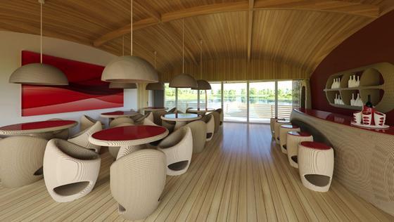Das Hausboot Waternest 100 bietet mit 100 m2 Wohnfläche genügend Platz für eine Familie. Es kann aber auch zum Reatuarant mit einer Kapazität von 40 Personen werden.