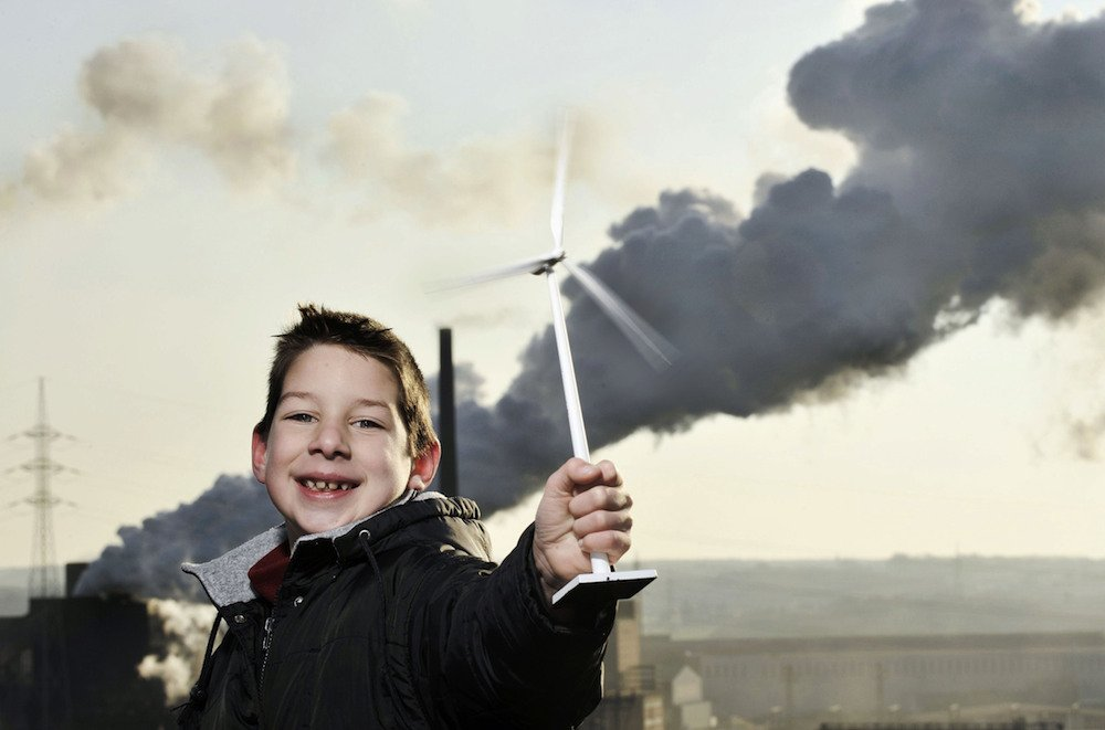 Im Kampf gegen den Klimawandel: Windenergie nutzen.