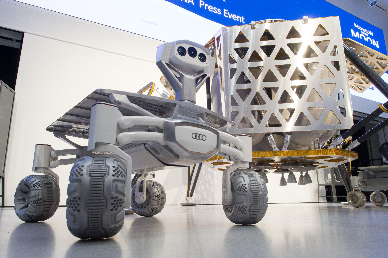 Der Mondrover Audi lunar quattro mit dem Landemodul Alina: Ingenieure aus Deutschland und Österreich wollen im nächsten Jahr eine unbemannte Mission zum Mond schicken.