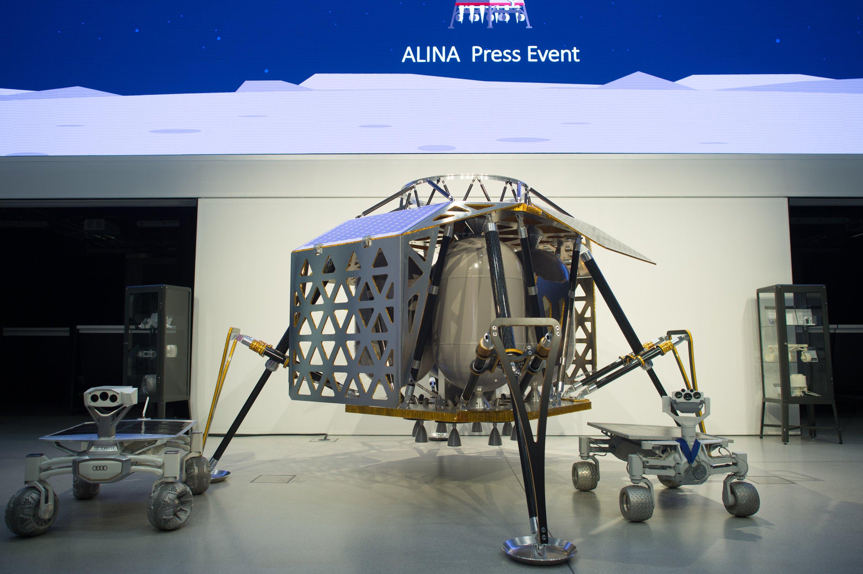 Das Mondlandemodul Alina soll bis Ende 2017 mit einer SpaceX-Rakete zum Mond fliegen und dort zwei Rover absetzen.