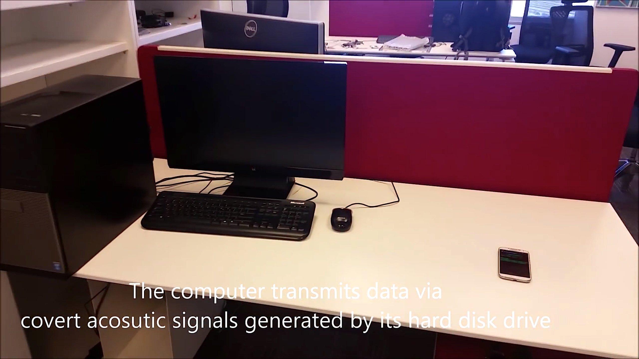 Um Daten aus den Geräuschen einer Festplatte abzuleiten, muss das Spionagegerät – in diesem Fall ein Smartphone – maximal zwei Meter entfernt sein.