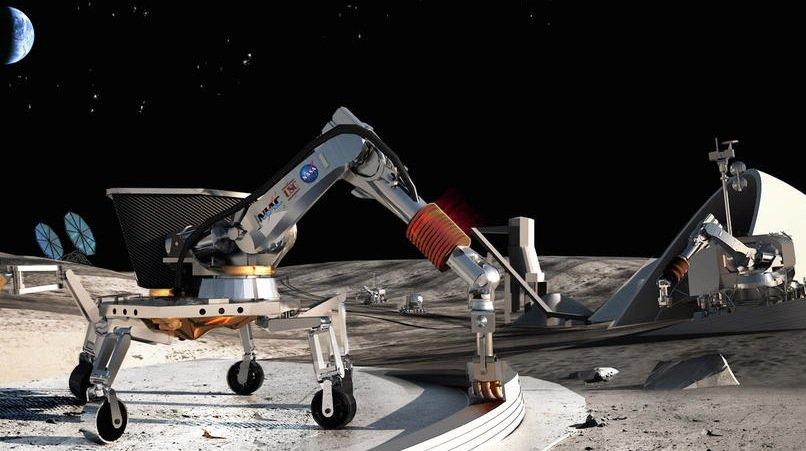 llustration eines 3D-Druckroboters: So stellt sich die Nasa den Bau von Häusern auf dem Mars vor.
