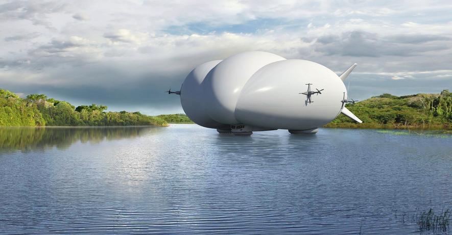 Das Luftschiff LMH-1 von Lockheed Martin kann sogar auf Wasser landen. Möglich machen das Füße mit Luftkissen.