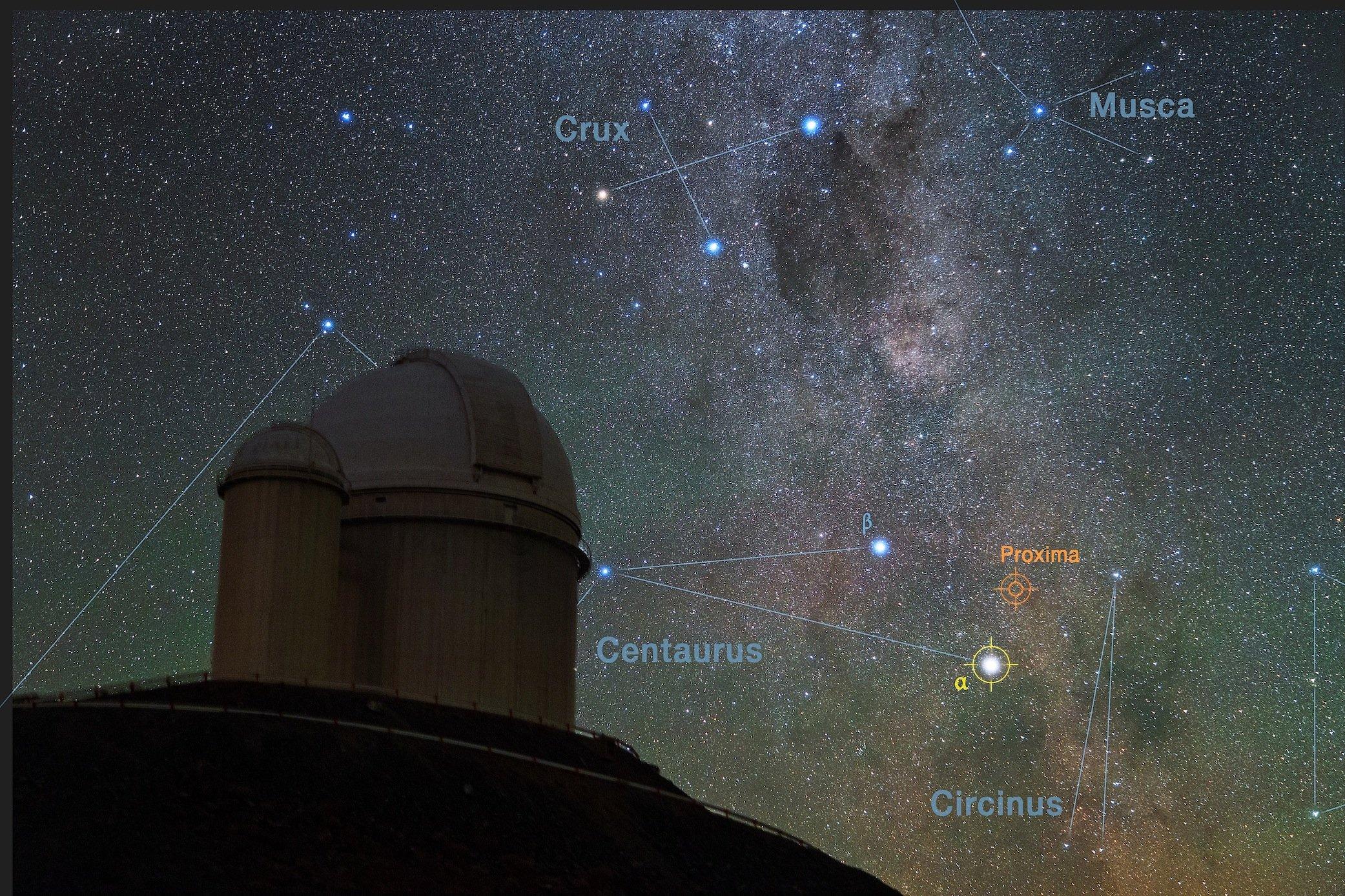 Der Sternenhimmel über der Europäischen Südsternwarte zeigt die Lage der jetzt entdeckten Planeten.