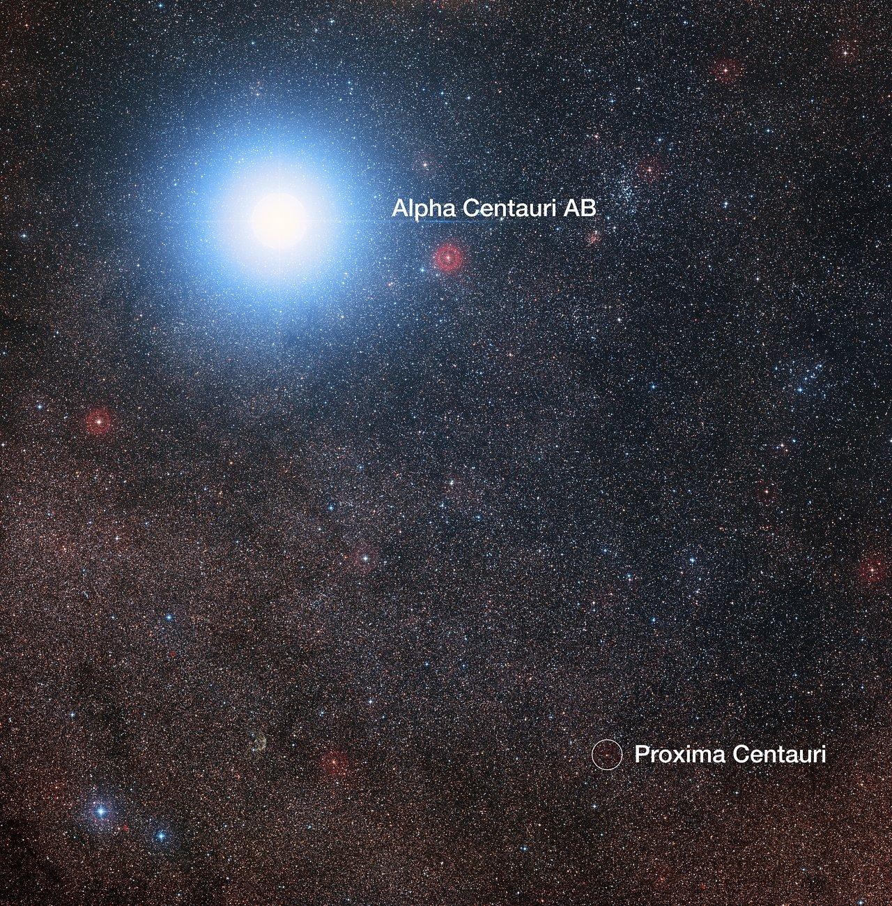 Dieses Bild zeigt die Himmelsregion um den hellen Stern Alpha Centauri AB sowie um den viel schwächeren roten Zwergstern Proxima Centauri, den zu unserem Sonnensystem nächst gelegenen Stern. Das Bild wurde aus Bildern des Digitized Sky Survey 2 zusammengestellt. Der blaue Halo um Alpha Centauri AB ist ein Artefakt des fotografischen Prozesses, der Stern ist in Wirklichkeit schwach gelb wie unsere Sonne.