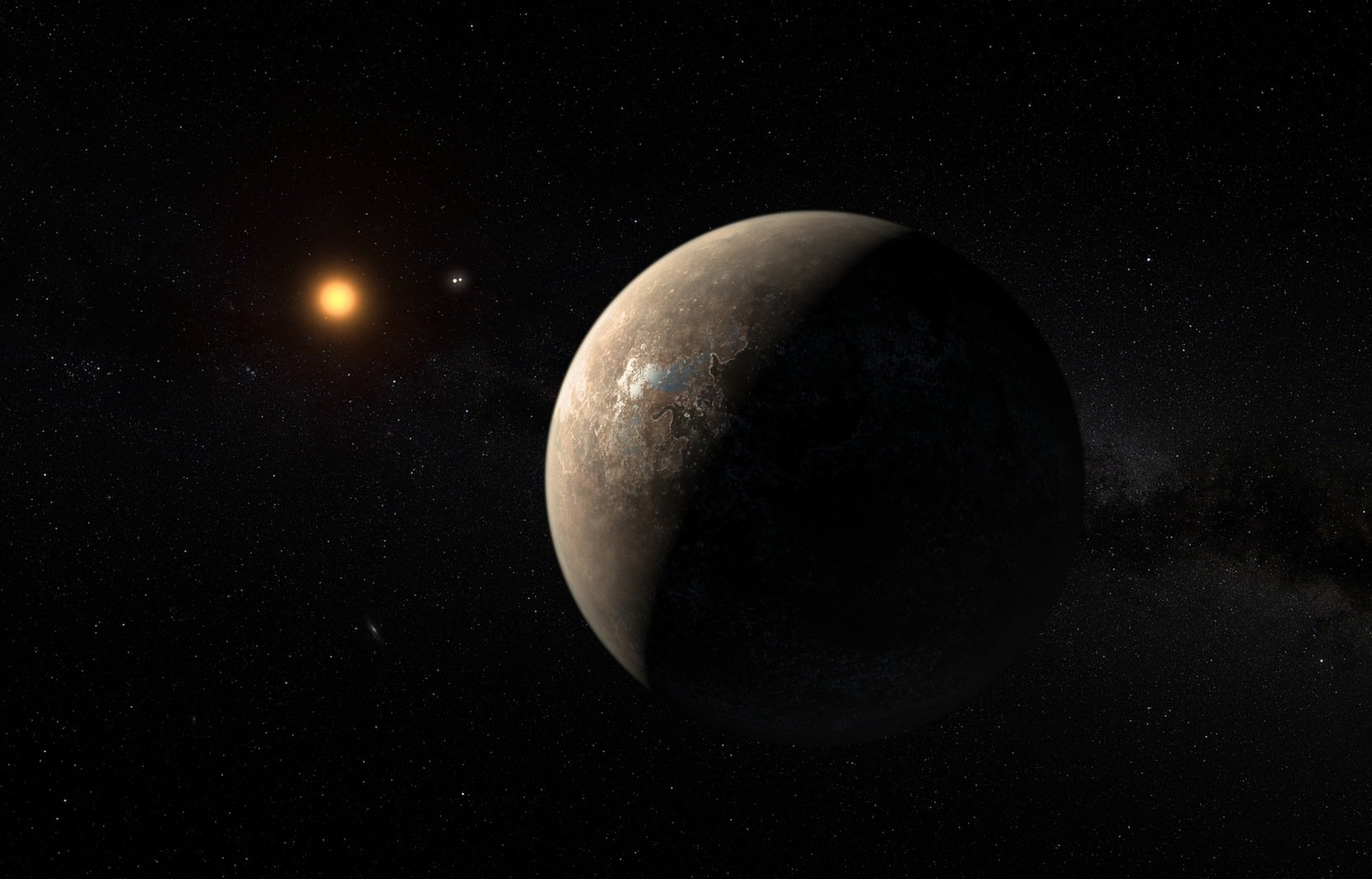 So könnte es aussehen: Im Vordergrund ist der erdähnliche Planet Proxima b zu sehen, der 11,2 Tage braucht, um seine Sonne, den roten Zwergstern Proxima Centauri, zu umkreisen.