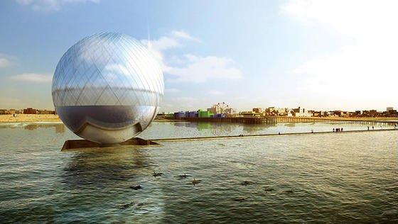Clear Orb: Die vom südkoreanischen Architekturbüro Heerim Architects & Planers geplante Kugel hat einen Durchmesser von 40 m. Sie könnte 2,2 Mio. Liter Trinkwasser pro Jahr erzeugen und außerdem noch rund 3,8 MWh an Elektrizität ins Netz speisen.