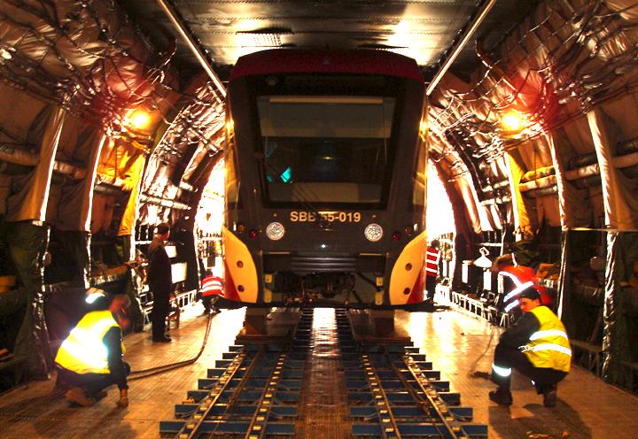 Die Antonov An-225 kann sogar Züge und Lokomotiven transportieren, wie hier ein Zug für die Schweizer Bahn SBB.