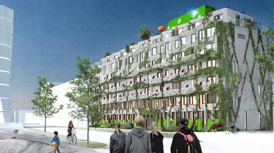"""Das Cykelhuset Ohboy wird mit viel Grün auch optisch ein Hingucker. Im Erdgeschoss sind die 33 Apartments des Fahrradhotels untergebracht. Sie bieten jeweils einen separaten Eingang und Radabstellanlagen. Pro Apartment finden bis zu drei Touristen Platz. Auf 22 m<custom name=""""sup"""">2</custom> befinden sich Küche, Bad, Schlafzimmer und Dusche. Touristen können direkt am Hauptbahnhof von Malmö ein Fahrrad ausleihen und entspannt zum Fahrradhotel radeln."""