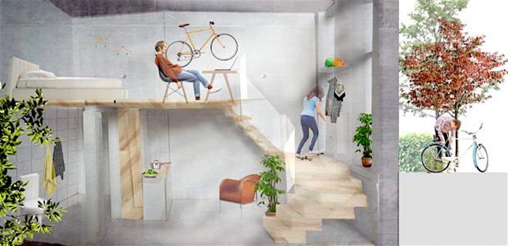 Das Fahrrad kann auch an der Wandhalterung befestigt werden.