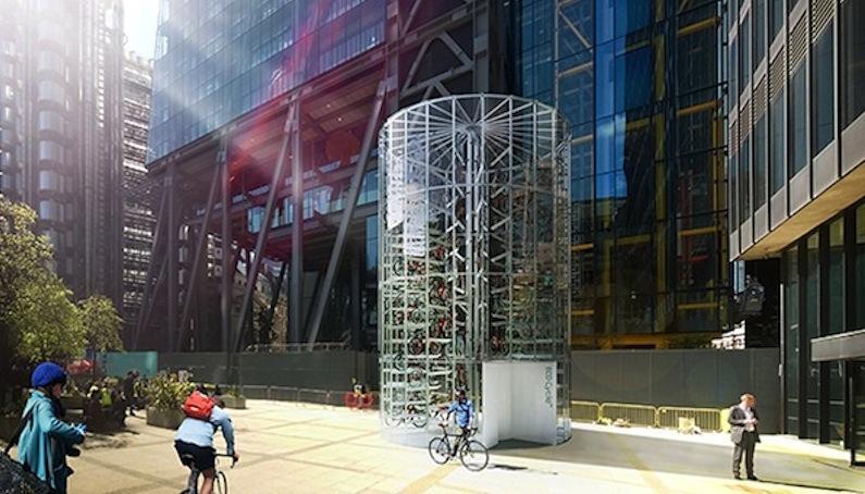 Kann auch zum echten Hingucker werden, ein solcher Eco Cycle Turm für die vertikale Aufbewahrung von Fahrrädern.