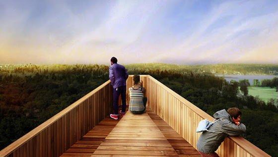Plattform am ausgedienten Strommast:Wenn sich das Konzept von Anders Berensson im Architektur-Wettbewerb des Royal Court of Sweden durchsetzt, können die Stockholmer und Touristen schon bald die herrliche Aussicht auf Stockholm über den Baumwipfeln bei einem Picknick genießen.
