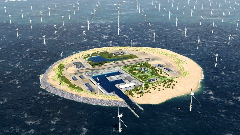 Konzept für eine künstliche Strominsel in der Nordsee: Die Insel soll den Strom der umliegenden Offshore-Windparks bündeln, Material lagern und Lebensraum für bis zu 2000 Beschäftigte sein. Das Konzept hat jetzt der Netzbetreiber Tennet vorgestellt.