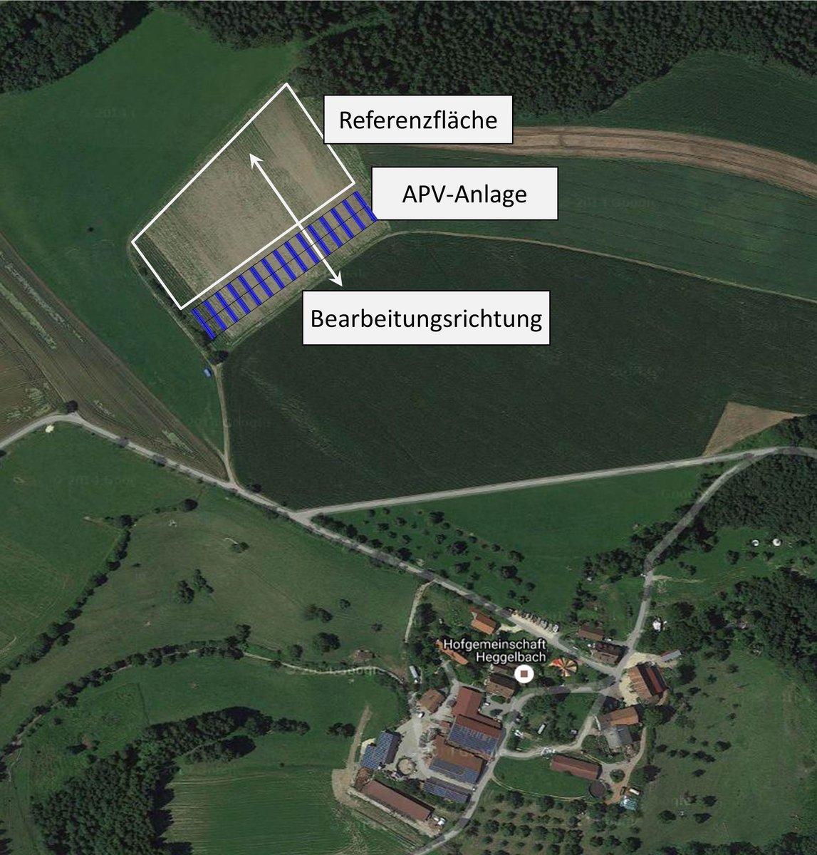 Die Versuchsfläche umfasst eine Grundfläche von etwa 2,5 Hektar, ein drittel Hektar wird von der APV-Forschungsanlage belegt, die restliche Fläche dient als Referenzfläche zum Vergleich der Ackererträge.