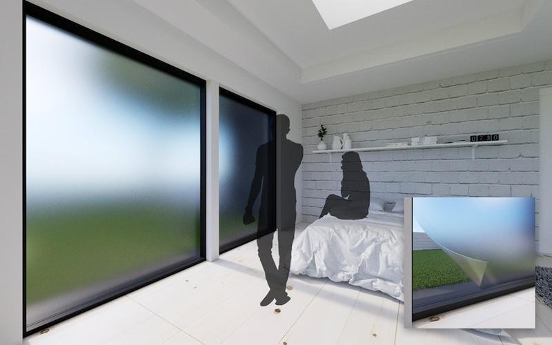 Ist beispielsweise Privatsphäre gewünscht kann die kluge Fensterscheibe blickdicht werden.