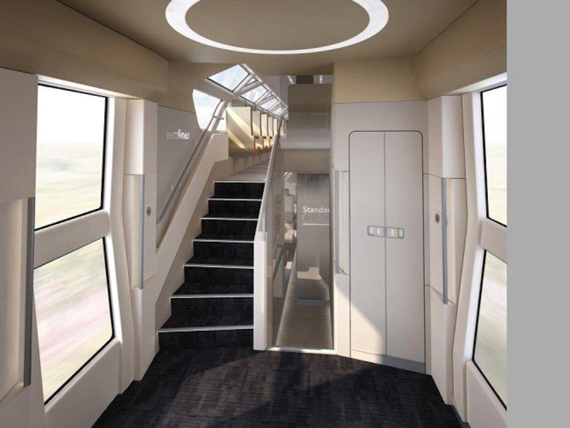 Fast schon wohnlich wirkt der Aufgang in die zweite Etage des Hochgeschwindigkeitszuges AeroLiner3000.