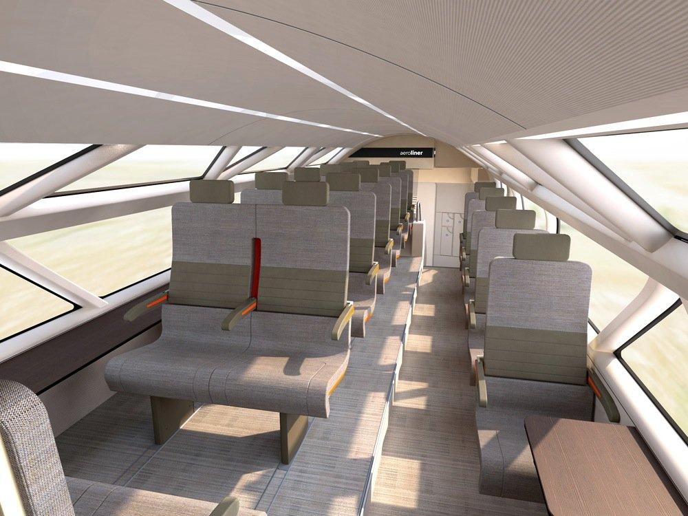 Schick und funktional ist das Innere des Zuges ausgestattet.