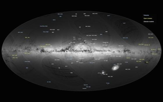 Sag mir, wieviel Sternlein stehen: Die Raumsonde Gaia arbeitet daran. Ihre erste Himmelskarte zeigt die Sternendichte am Nachthimmel. 1,14 Mrd. sollen es laut ESA sein. Und das sind nur ein Prozent der Sterne unserer Galaxie.