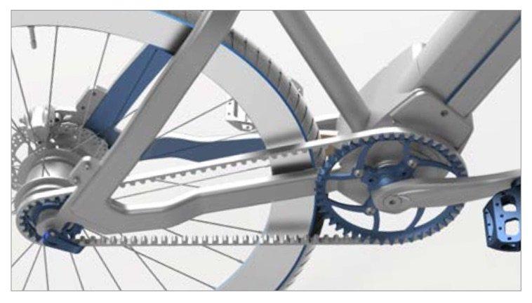 Das E-voluzione punktet auch mit einem wartungsarmen Riemenantrieb.