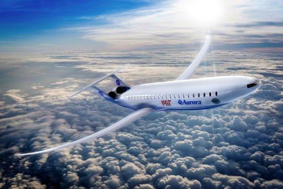 Entwurf des Verkehrsflugzeuges Aurora D8: Besonders auffallend ist der ovale Rumpf mit den schlanken Tragflächen und den am Heck montierten Triebwerken.