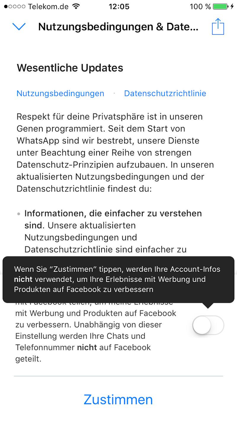 Bei der Neuanmeldung bei WhatsApp diesen Regler deaktivieren, dann nutzt WhatsApp meine Daten wenigstens nicht für Werbung auf Facebook – zumindest vorläufig!
