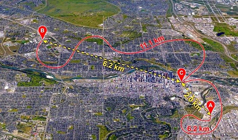 Die Karte zeigt die Stationen im kanadischen Calgary, zwischen denen mithilfe verschränkter Lichtteilchen Informationen übertragen wurden. Rot eingezeichnet sind die Glasfaserkabel des Telekommunikationsnetzwerks der Stadt.