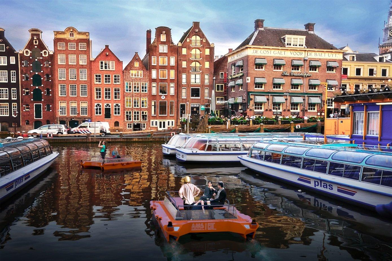 Ingenieure des AmsterdamerAMS Institute arbeiten an autonom fahrenden Booten, die Passagiere und Waren durch die Stadt fahren sollen.