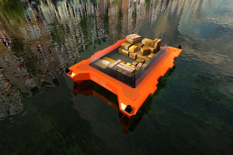 Waren und Pakete könnten die autonom fahrenden Boote in Amsterdam zustellen.