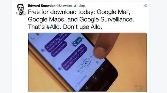 Whistleblower Edward Snowden warnt vor dem neuen Messenger Allo von Google. Er sein noch unsicherer als WhatsApp.