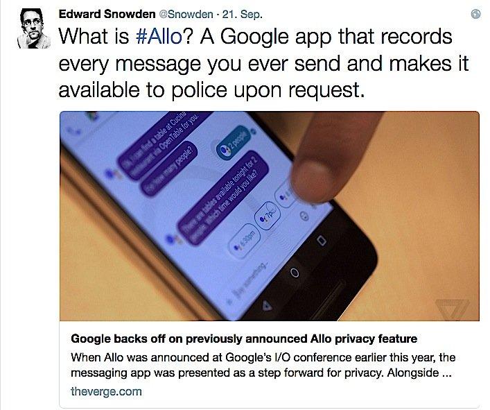 Edward Snowden geht auf Twitter deutlich gegen Google Allo vor.