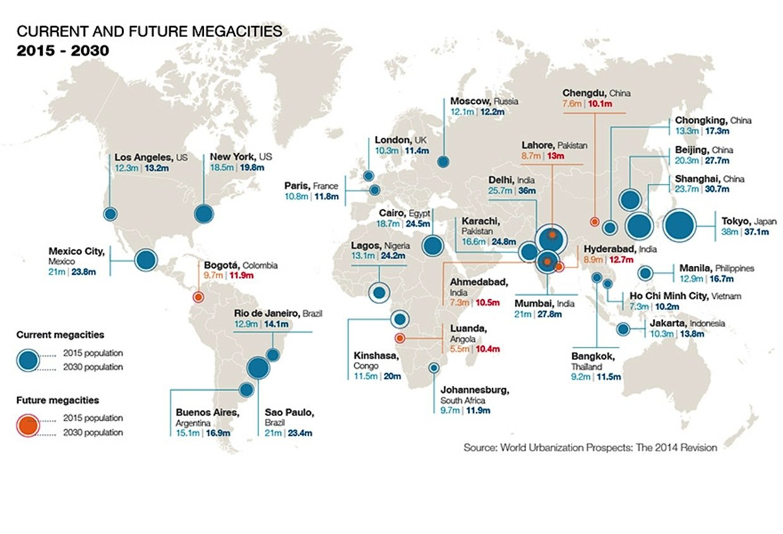 Weltkarte mit heutigen und künftigen Megacities, wo die Uber-Lufttaxis eingesetzt werden könnten.