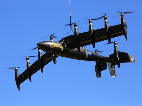 Die neue Nasa-Drohne GL-10kann wie ein Hubschrauber starten und später wie ein Flugzeug fliegen. Die Spannweite der Tragfläche erreicht drei Meter.
