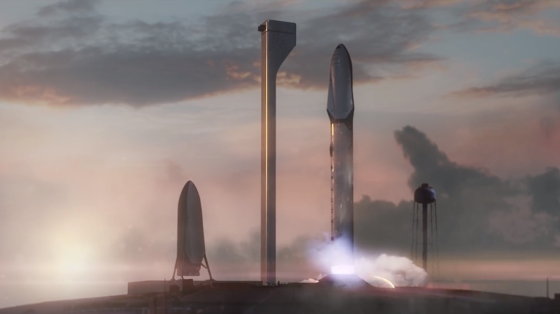 Start einer SpaceX-Marsmission: Elon Musk hat ein Raumschiff vorgestellt, das 2035 nur 80 Tage für den Flug zum Mars benötigen soll.