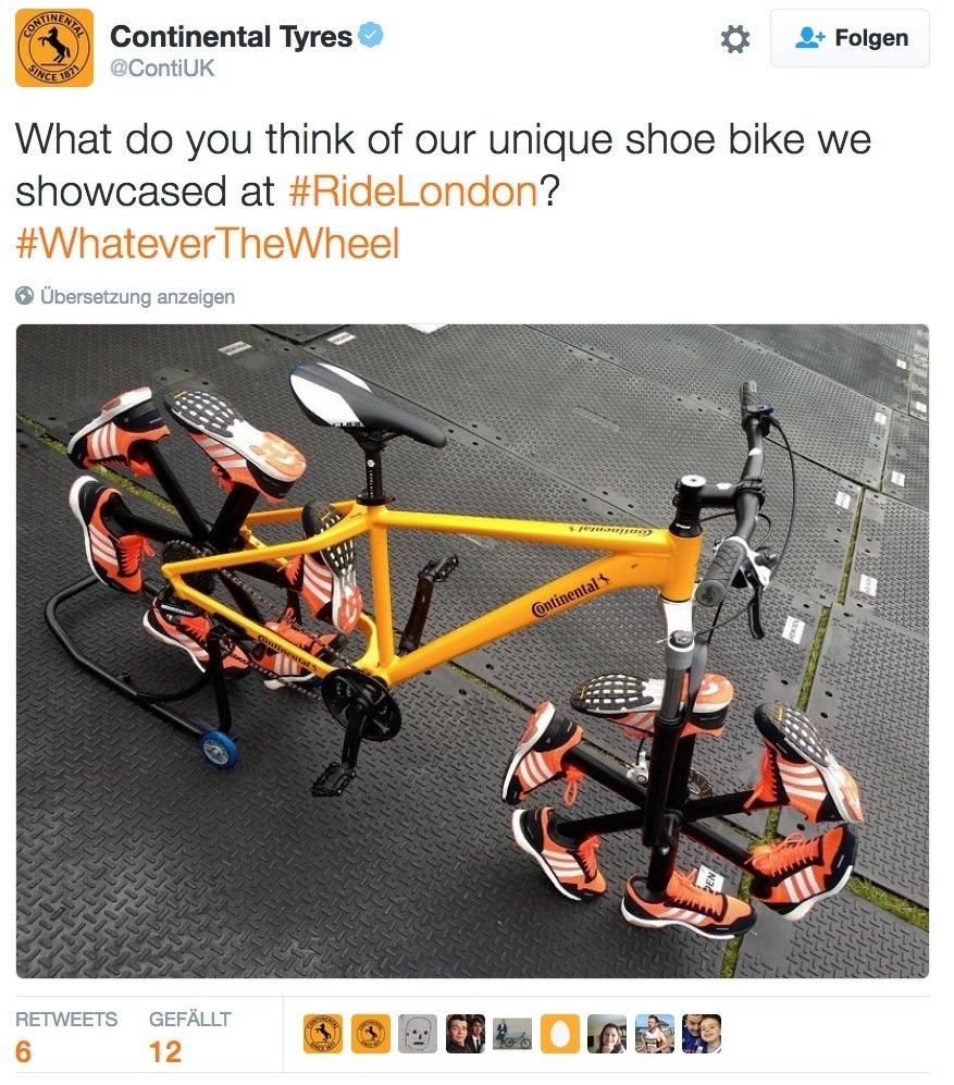 Diskutieren wollen die Conti-Ingenieure auch noch über ihr Turnschuh-Rad: Wie findet ihr unsere Shoe Bike, fragen sie auf Twitter.