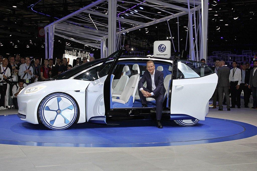 Blick ins Innere der Elektroauto-Studie I.D. von VW.