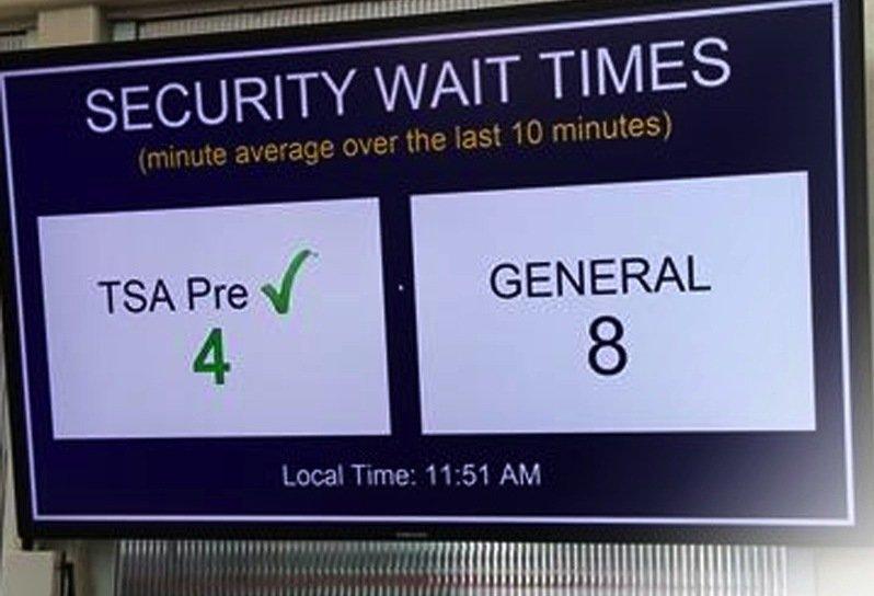 Anzeige der Wartezeiten an der Gepäckkontrolle im Flughafen Cincinnati: Die Fluggäste wissen genau, an welchem Schalter sie am schnellsten abgefertigt werden.