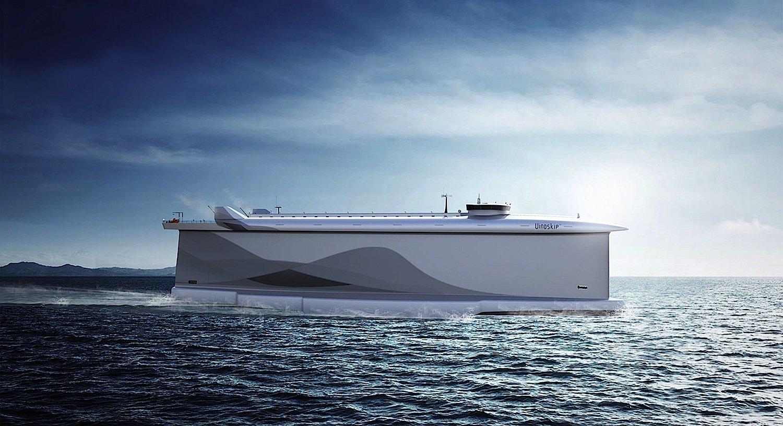 Der Rumpf des Cargoschiffs Vindskip ist geformt wie ein Flugzeugsegel. Dadurch entsteht an einer Seite ein Unterdruck, der das Schiff nach vorne zieht – bei gutem Wind soll Vindskip auf 35 km/h beschleunigen.